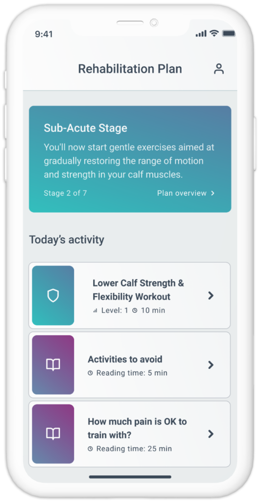 The Exakt Health sports injury app adjusts the exercise intensities according to your feedback about pain and effort. It has been registered as a medical device in the EU and the injury treatment plans have been designed according to the latest research and clinical experience.